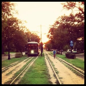 New Orleans Streetcar at Sunset