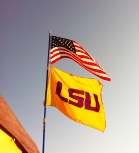 American and LSU Flags