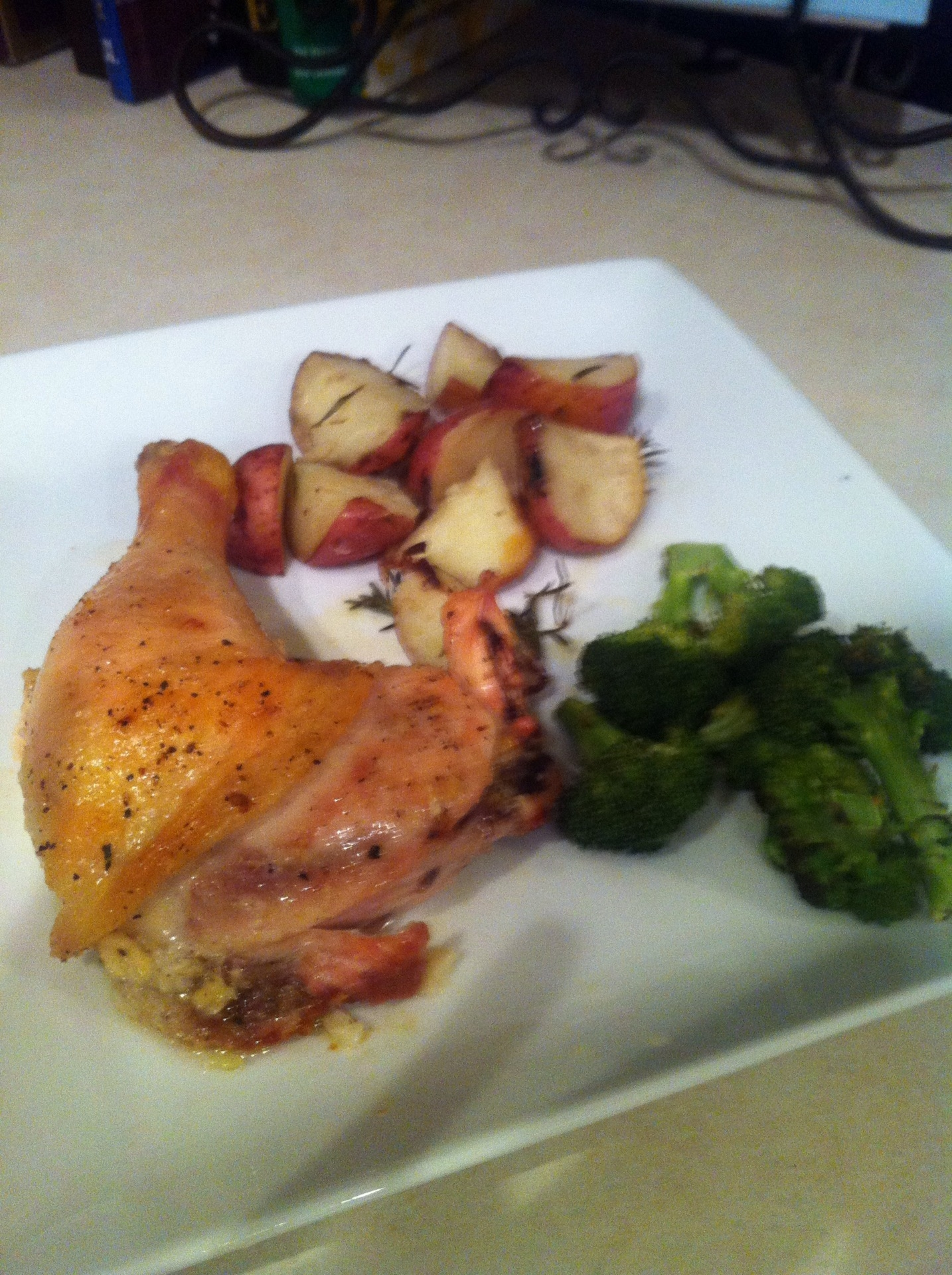 ... and Garlic Baked Chicken with Rosemary Potatoes and Roasted Broccoli