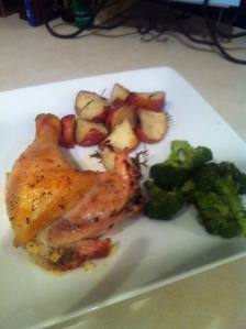 Lemon and Garlic Baked Chicken with Rosemary Potatoes and Roasted Broccoli