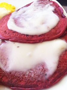 Red Velvet Pancakes with Coconut-Cream Cheese Icing