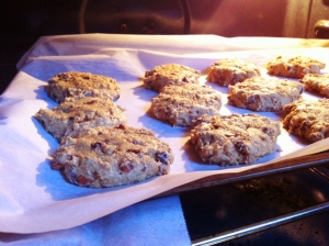 Avocado, Cinnamon, Chocolate Chip and Pecan Cookies in the Oven