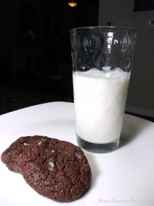 Milk and Mint Chocolate Chip Cookies