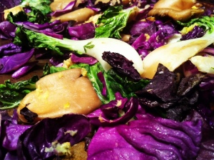 Bok Choy, Purple Cabbage and Oyster Mushrooms