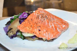 Wasabi Salmon with Bok Choy, Purple Cabbage and Oyster Mushrooms