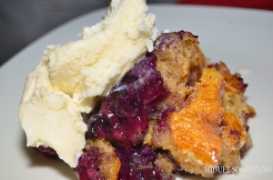 Blueberry-Peach Cobbler with Ice Cream