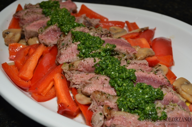 Flank Steak with Chimichurri Sauce over Mushrooms and Red Pepper