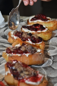 Bone Marrow on Toast with Goat Cheese and Black Pepper Fig Jam