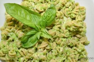 Fusilli Pasta with Sweet Pea Pesto and Goat Cheese