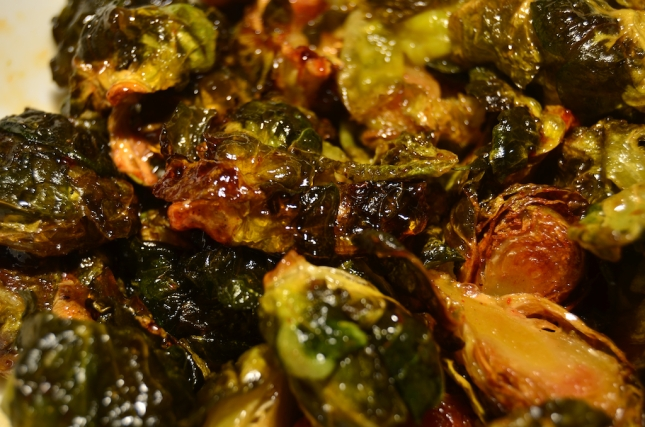 Fried Brussels Sprouts with Pepper Jelly