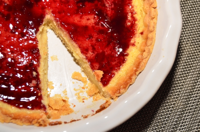 Buttermilk Pie with Blackberry Jam