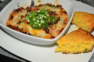 Spicy Chicken Chili and Jalapeno-Cheddar Cornbread