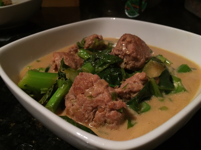 Ginger Soy Chicken Meatballs with Chinese Broccoli